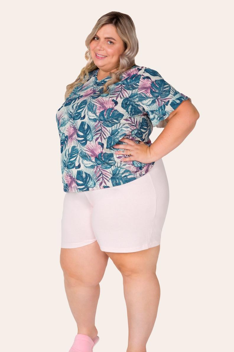 031/E - Pijama Curto Plus Size Com Babado