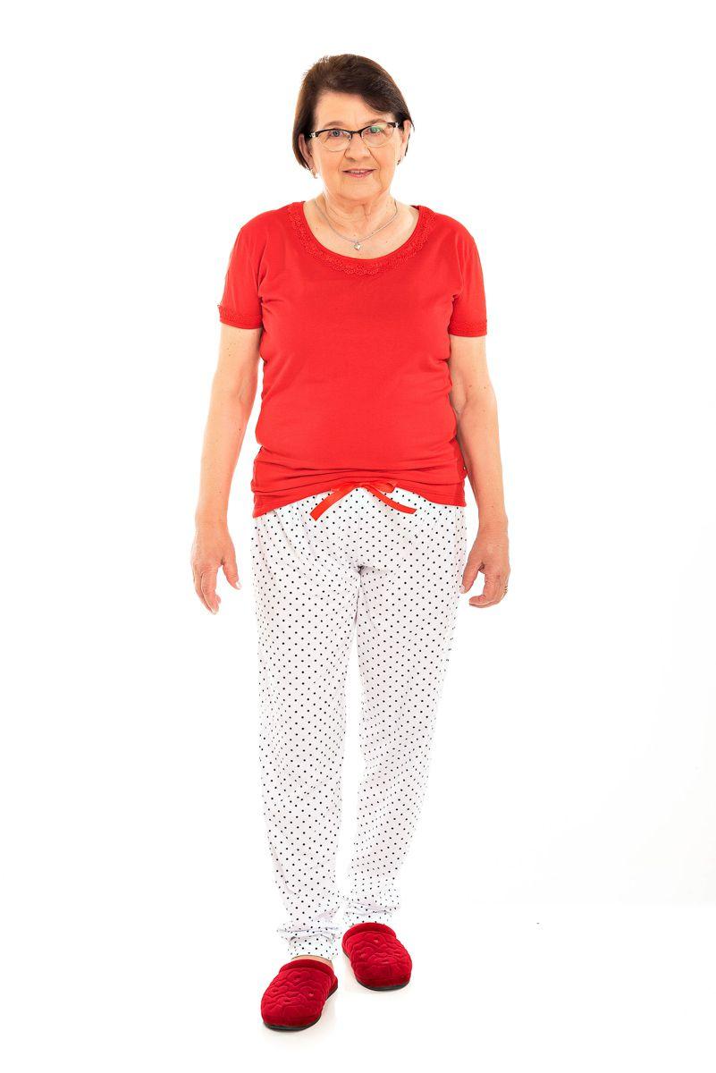 Pijama Adulto Feminino Manga Curta Poá  Vermelho