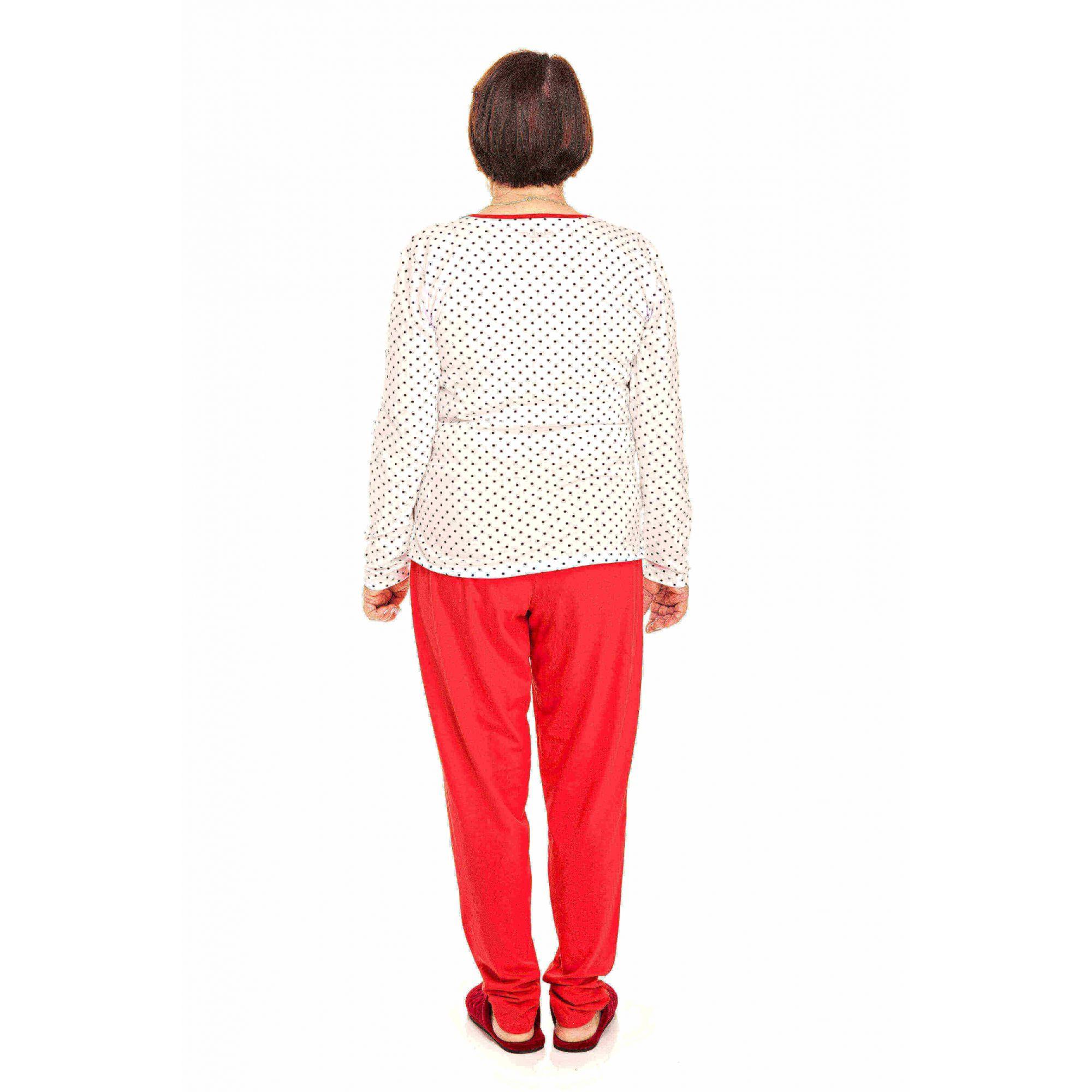 Pijama Adulto Feminino Poá Vermelho