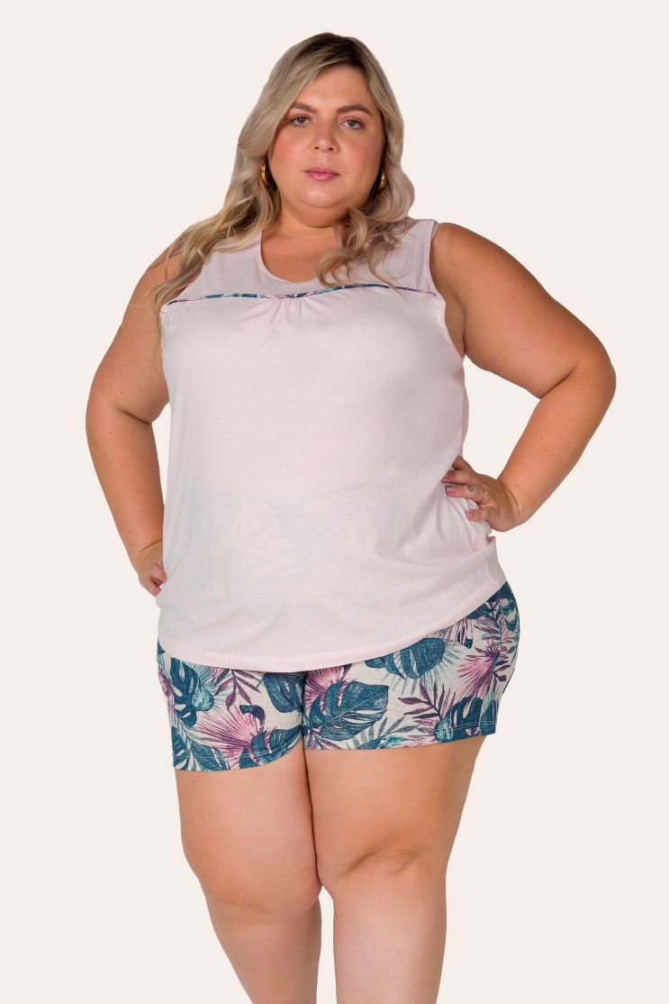 031/F - Pijama Curto Pus Size Regata
