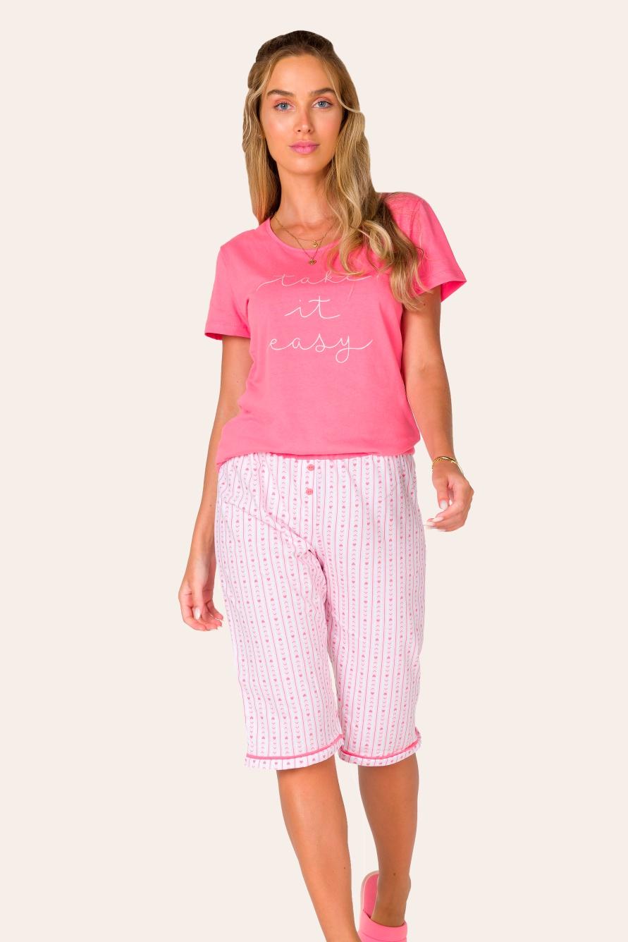 023/C - Pijama Capri Adulto Feminino Take it Easy