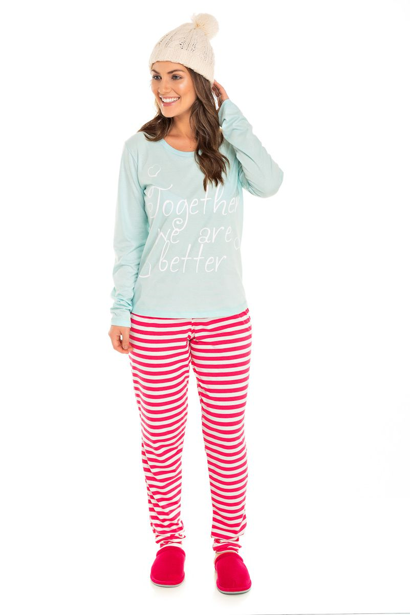 Pijama Adulto Feminino Together We Are Letters