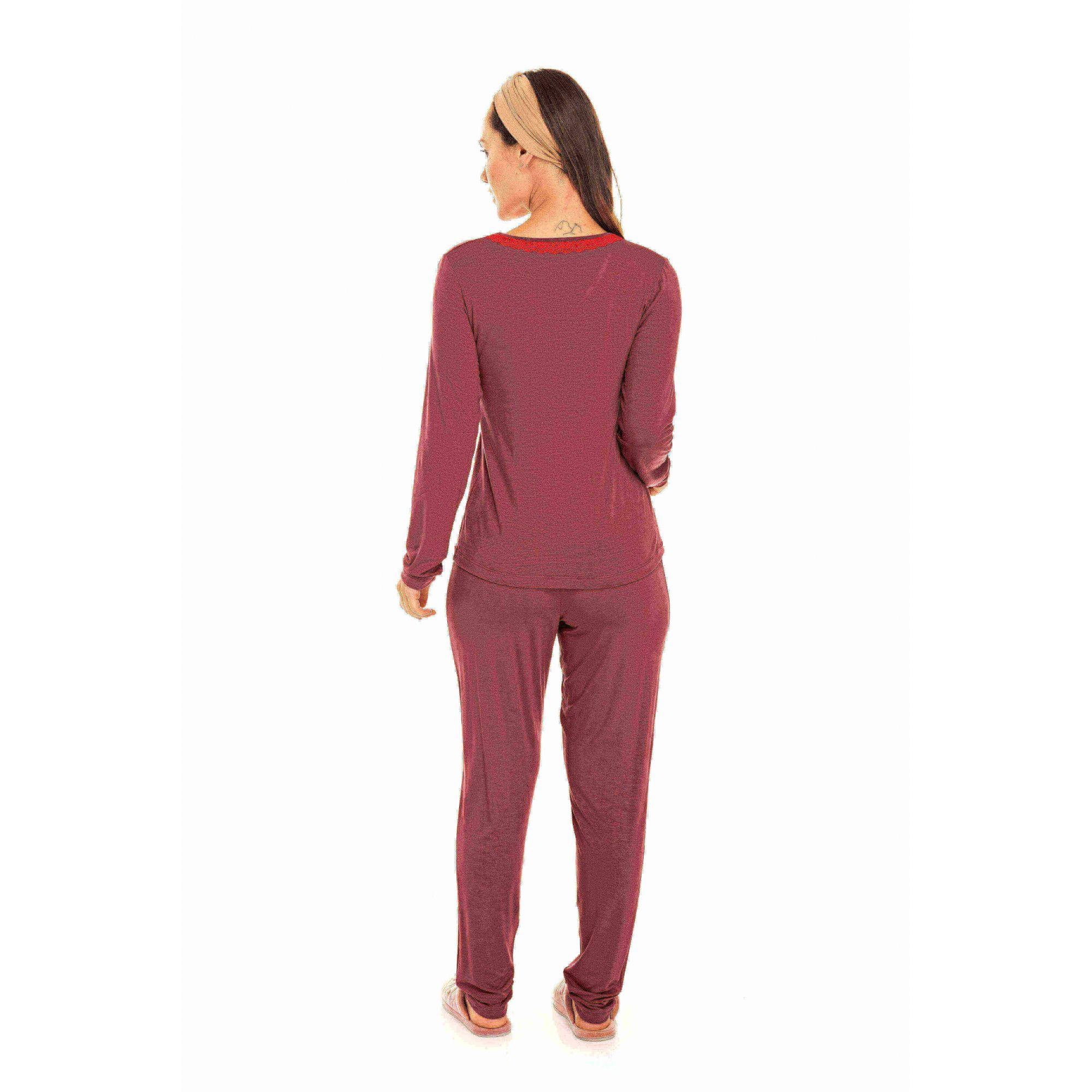 Pijama Adulto Feminino Viscolycra Bordô