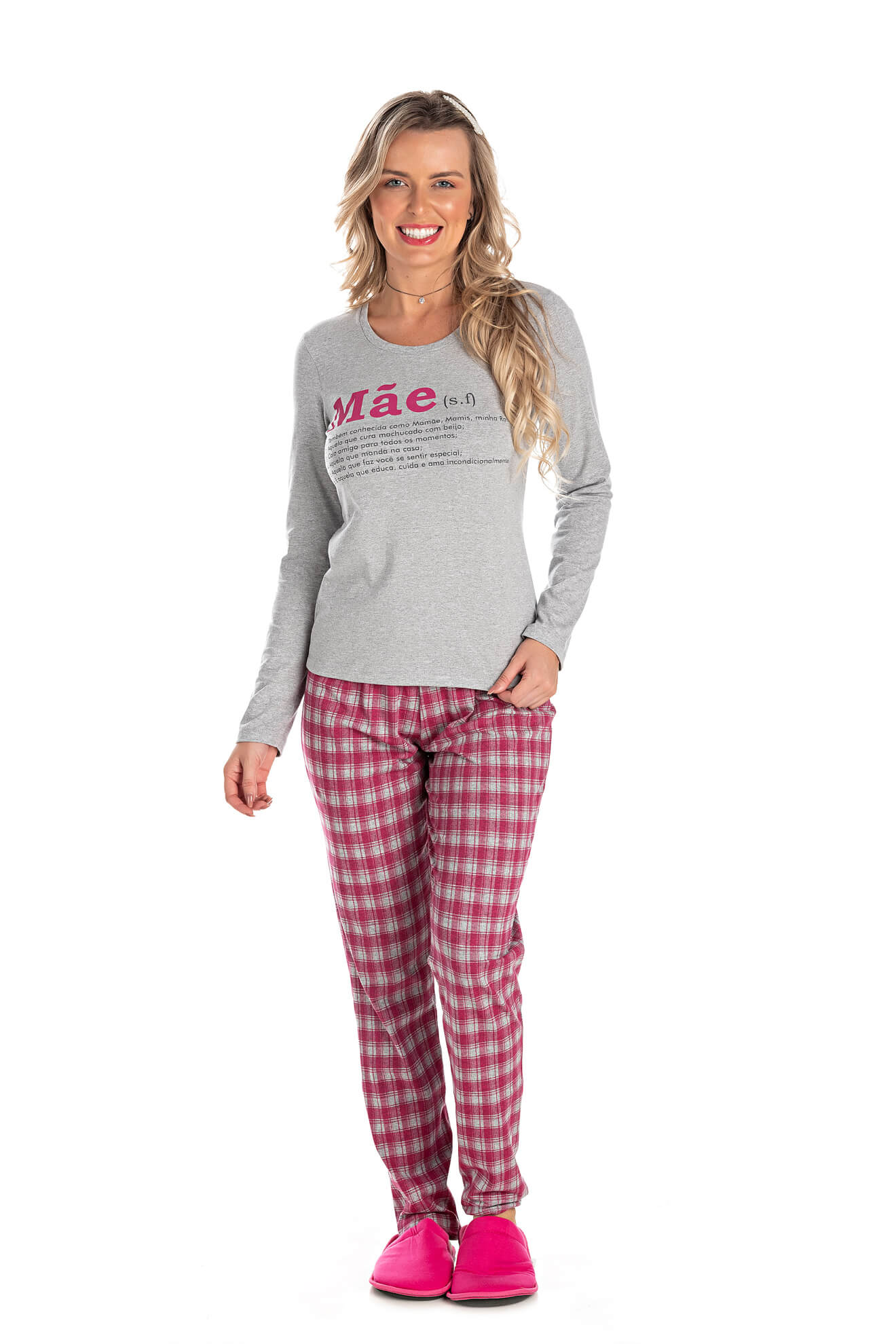 003/A - Pijama Adulto Feminino Xadrez Família Completa