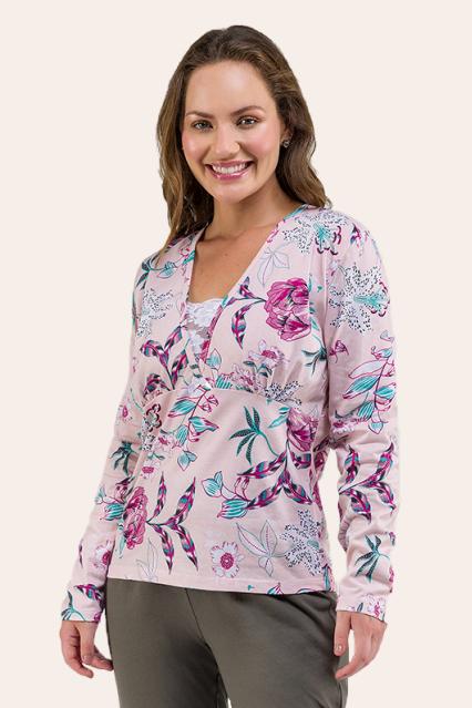 005/B - Pijama Adulto Floral Com  Renda