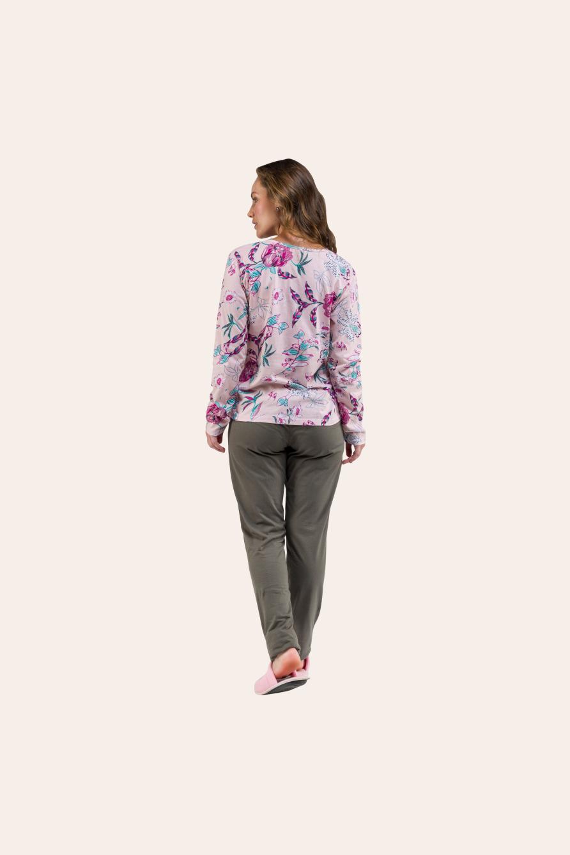 005/I - Pijama Adulto Floral Com  Renda