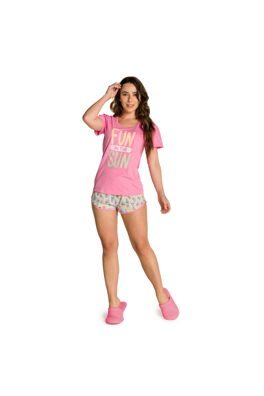 009/B - Pijama Adulto Feminino Fun In The Sun