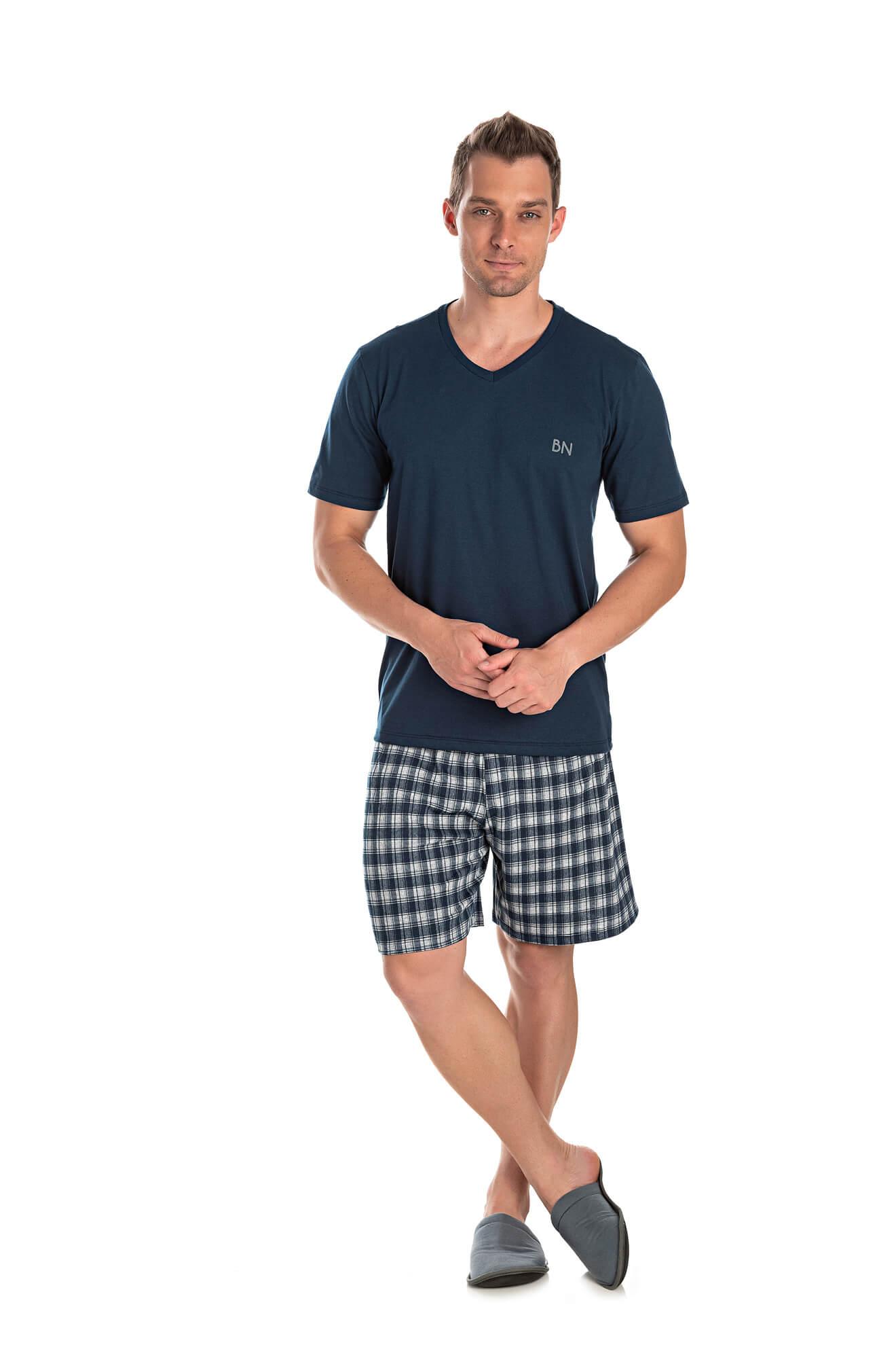 005/D - Pijama Adulto Masculino Bermuda Meia Estação Xadrez
