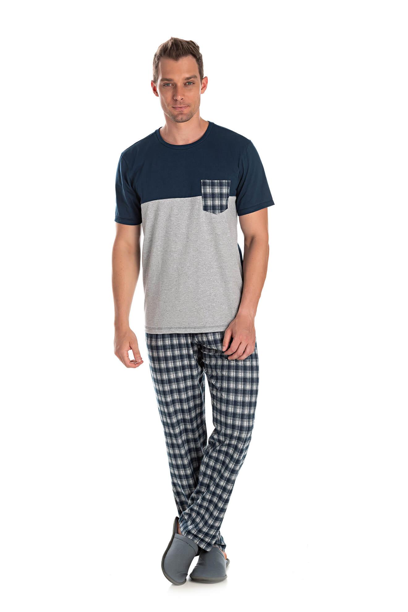 005/C - Pijama Adulto Masculino Camisa Meia Estação Xadrez