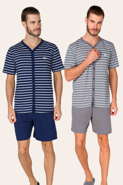 Pijama Adulto Masculino com Botões Listrado