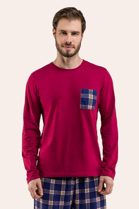 000/E - Pijama Adulto Masculino Família Xadrez