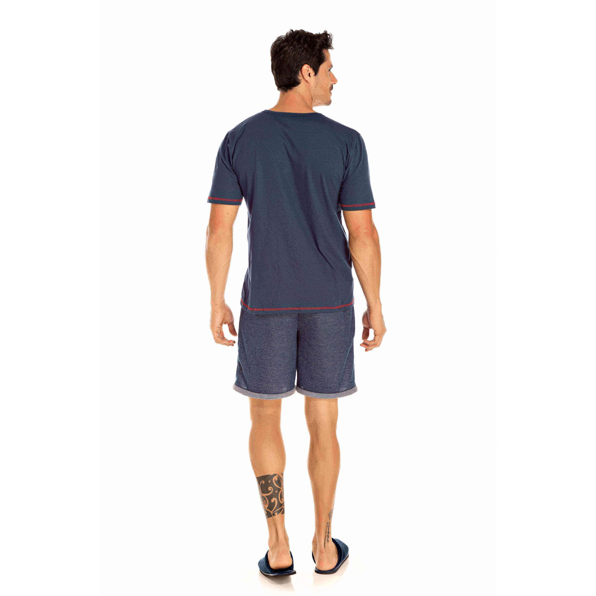 107/D - Pijama Adulto Masculino Hey Sailor -  Marinho