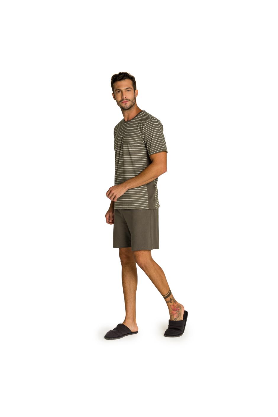 007/D - Pijama Adulto Masculino Listrado com Recorte Lateral