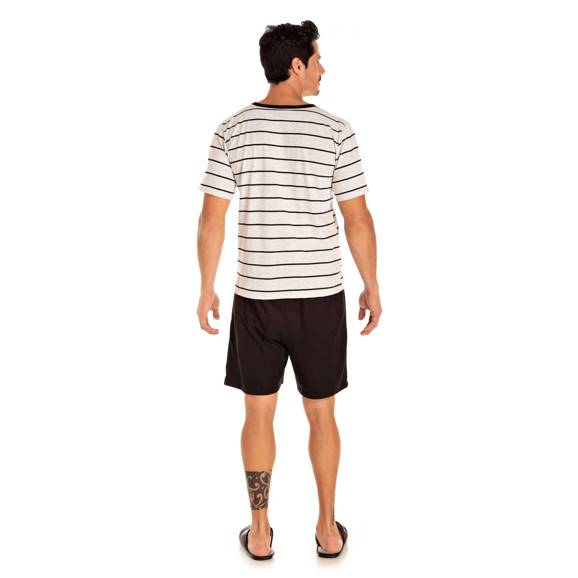 100/D - Pijama Adulto Masculino Listrado - Pérola