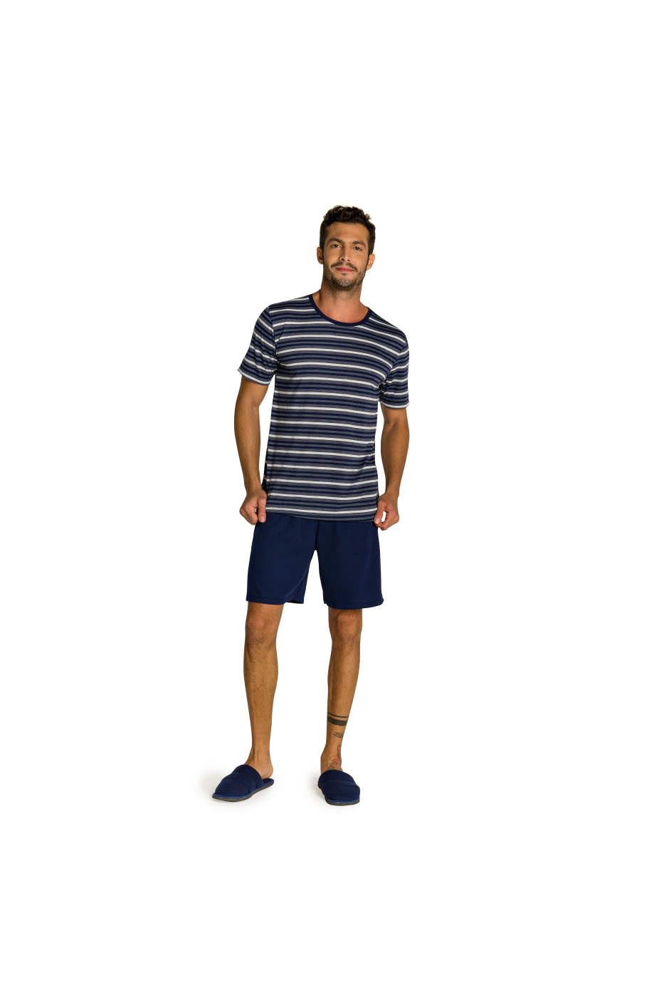 212/C - Pijama Adulto Masculino Listras