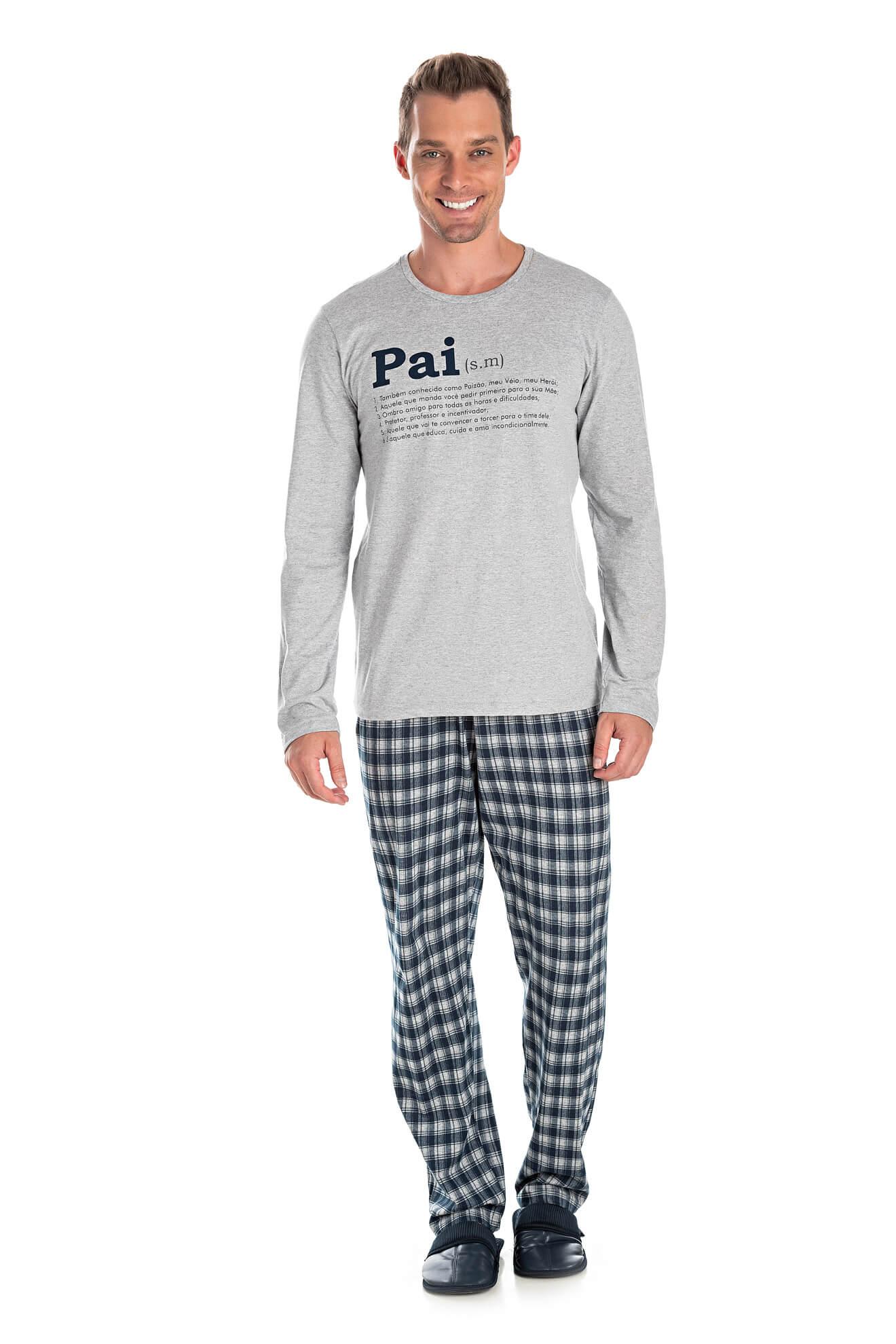 004/A - Pijama Adulto Masculino Xadrez Família Completa