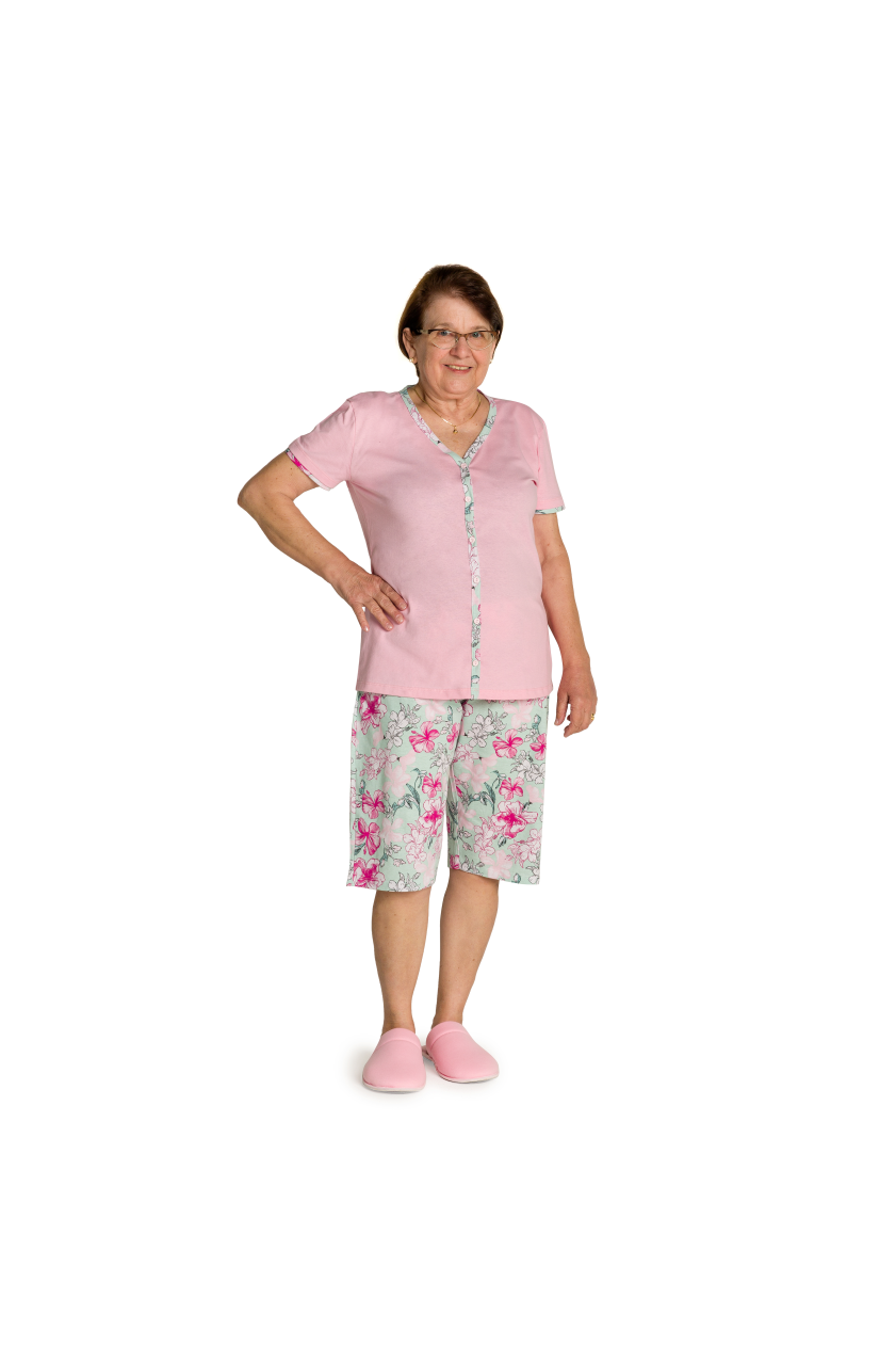 007/F - Pijama Maternidade Floral Botões Funcionais