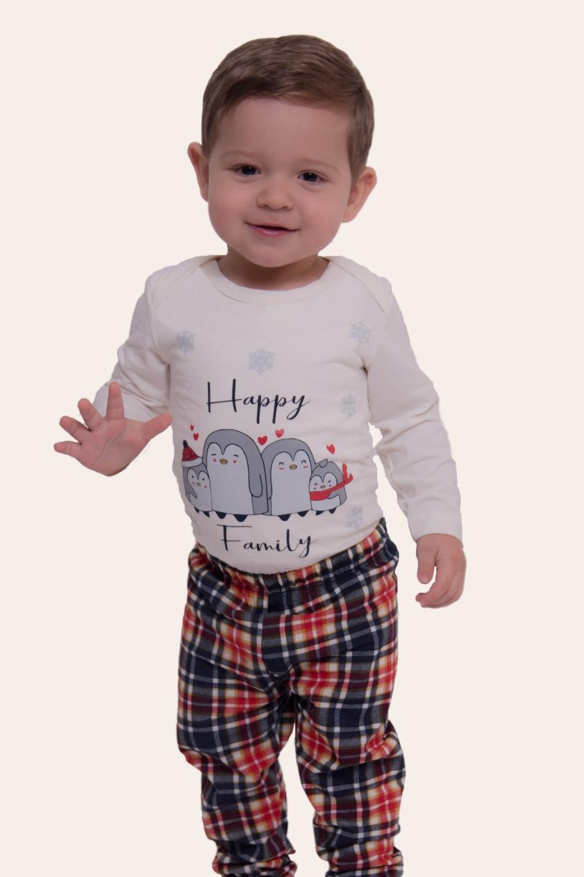 002/H - Pijama Bebê Unissex Família Happy Family