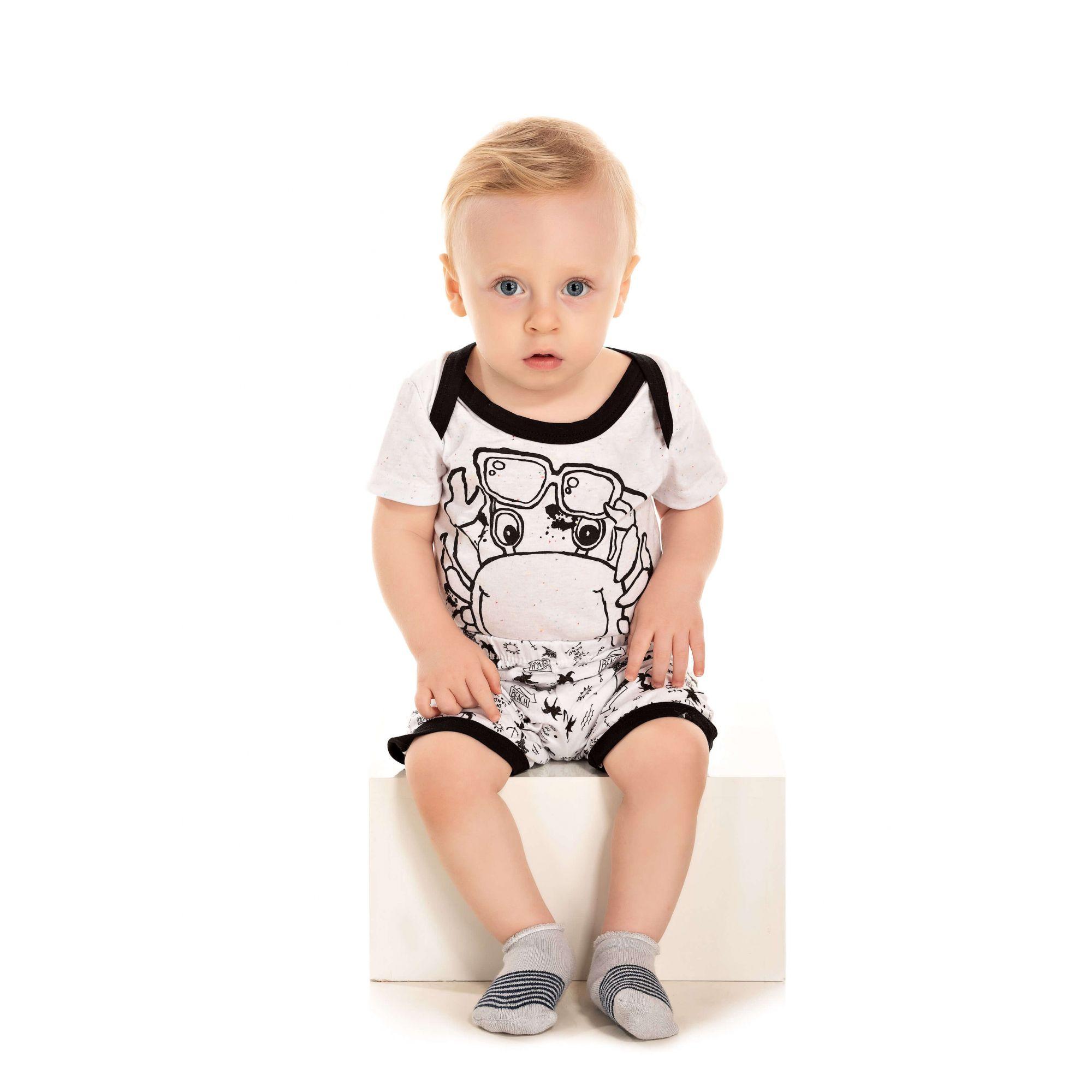 Pijama Bebê Masculino Siri - Branco