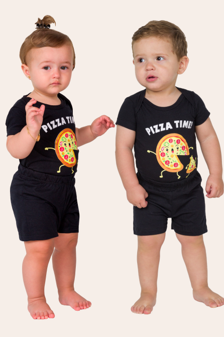 Pijama Bebê Unissex Pizza Time - Família