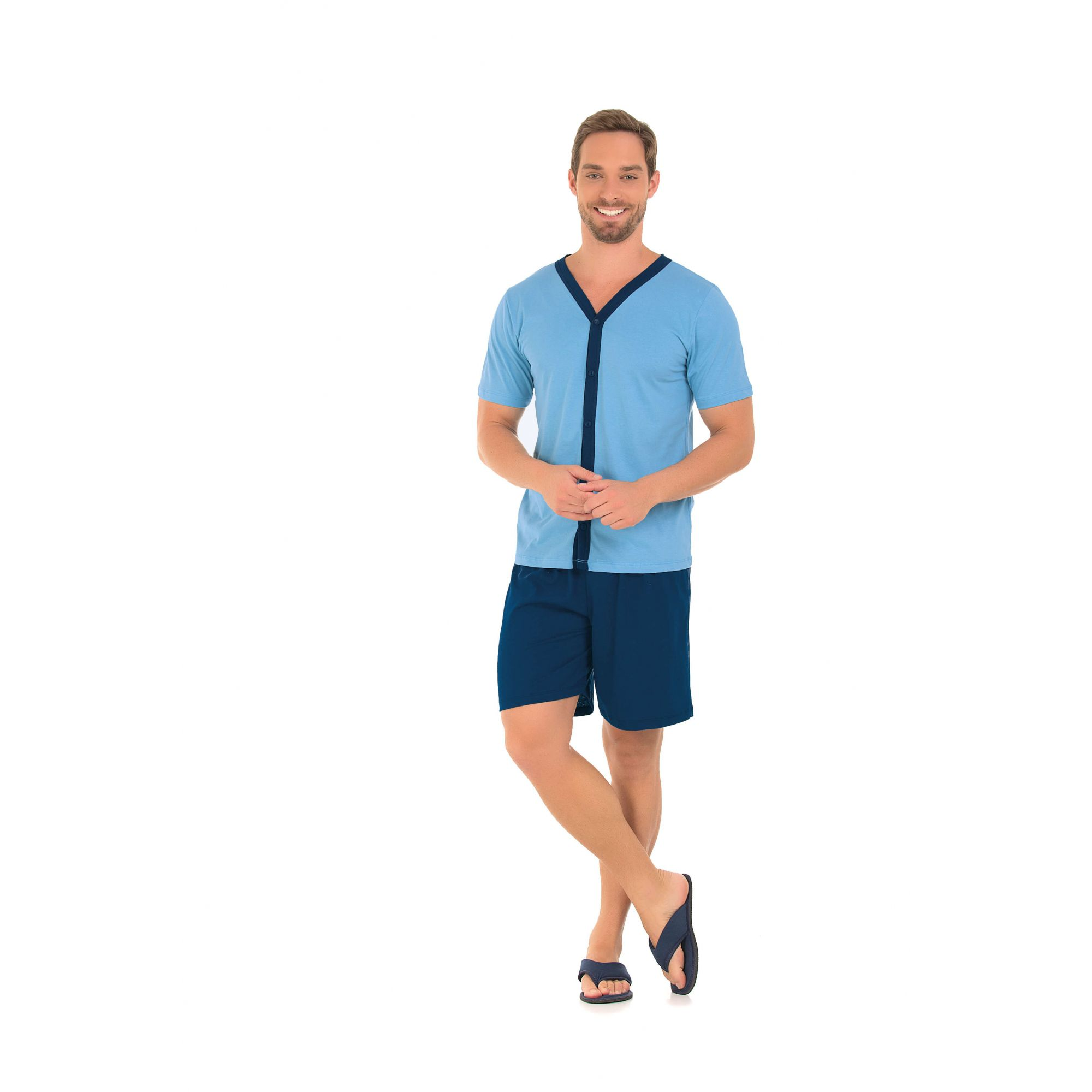 Pijama Curto Adulto Masculino Aberto