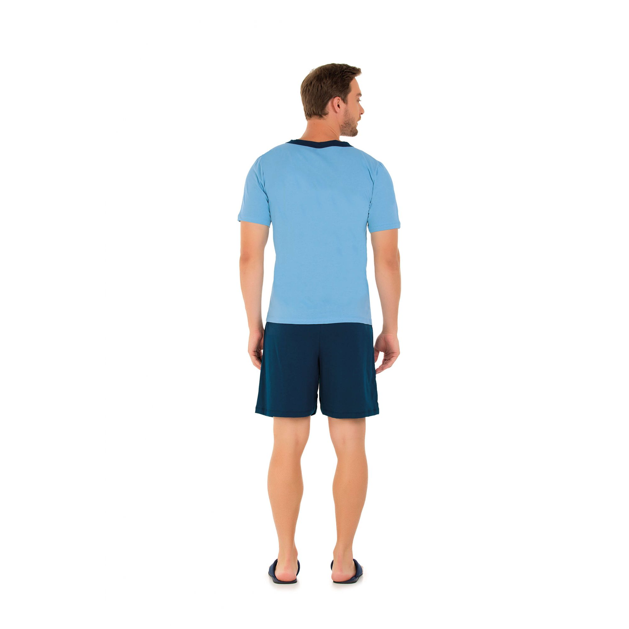 102/F - Pijama Curto Adulto Masculino Aberto
