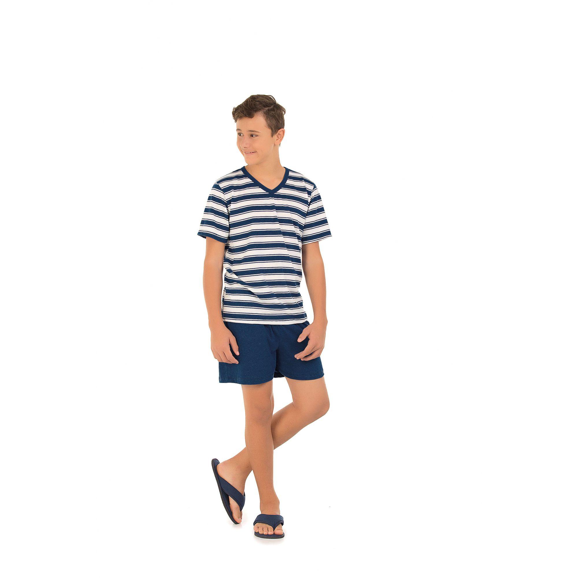 Pijama Curto Juvenil Masculino Família Listrado