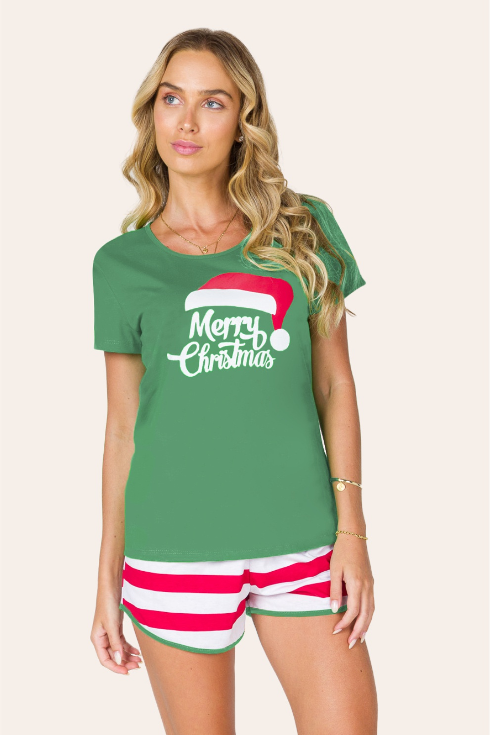 047/A - Pijama de Natal Para Família Merry Christmas - Adulto Feminino