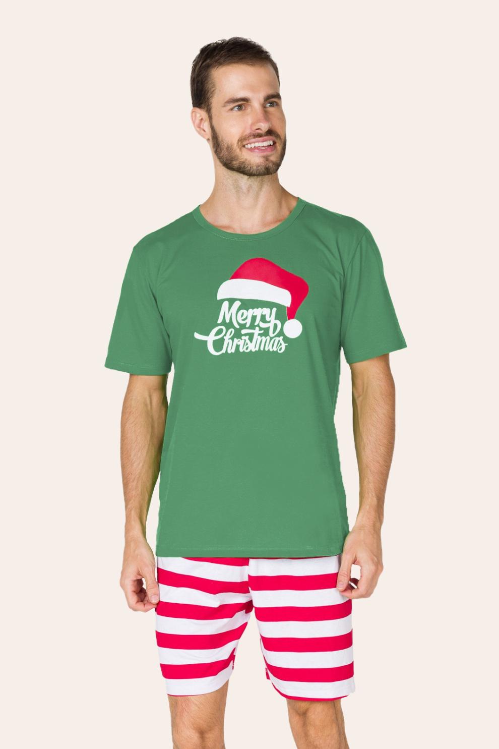 047/D - Pijama de Natal Para Família Merry Christmas - Adulto Masculino
