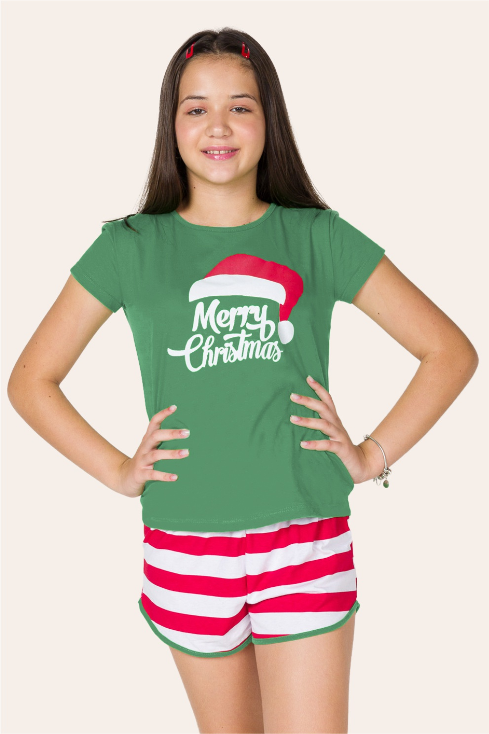 047/B - Pijama de Natal Para Família Merry Christmas - Juvenil Feminino