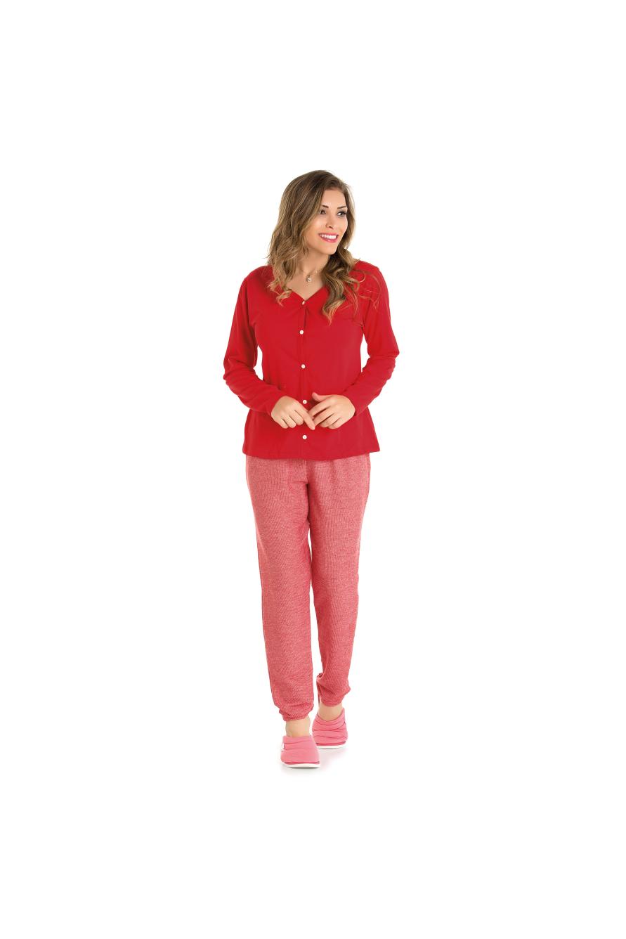 Pijama Feminino Adulto Vermelho Aberto