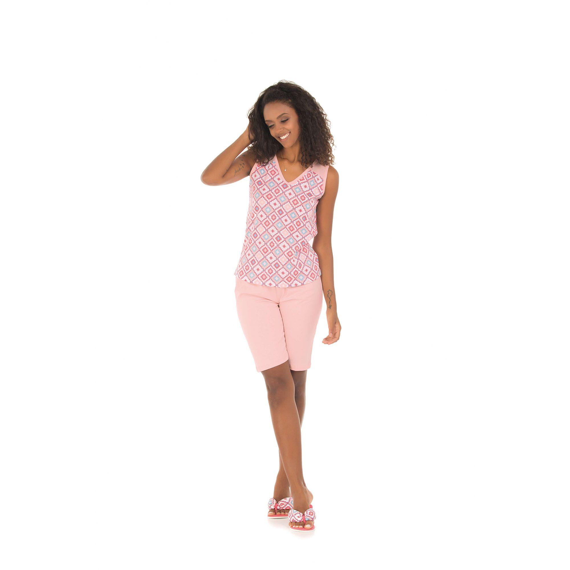 114/F - Pijama Feminino Adulto Capri