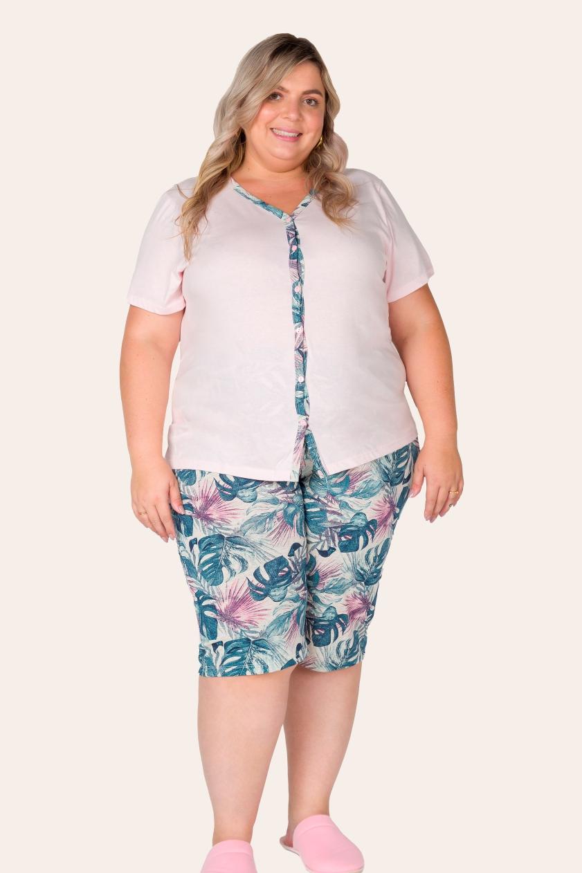 031/G - Pijama Capri Plus Size  Aberto