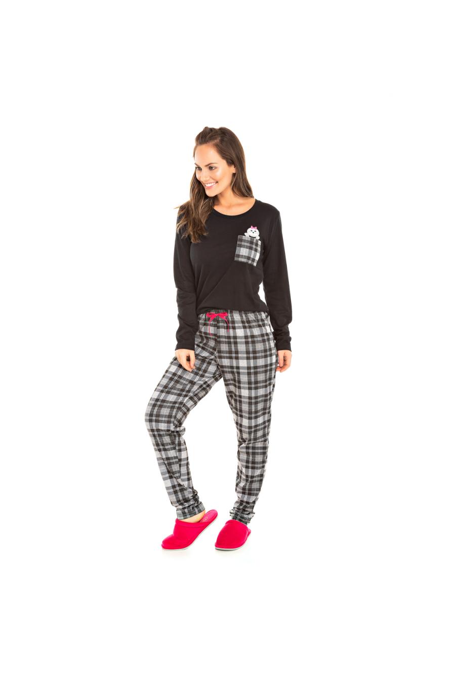 001/A - Pijama Feminino Adulto Xadrez