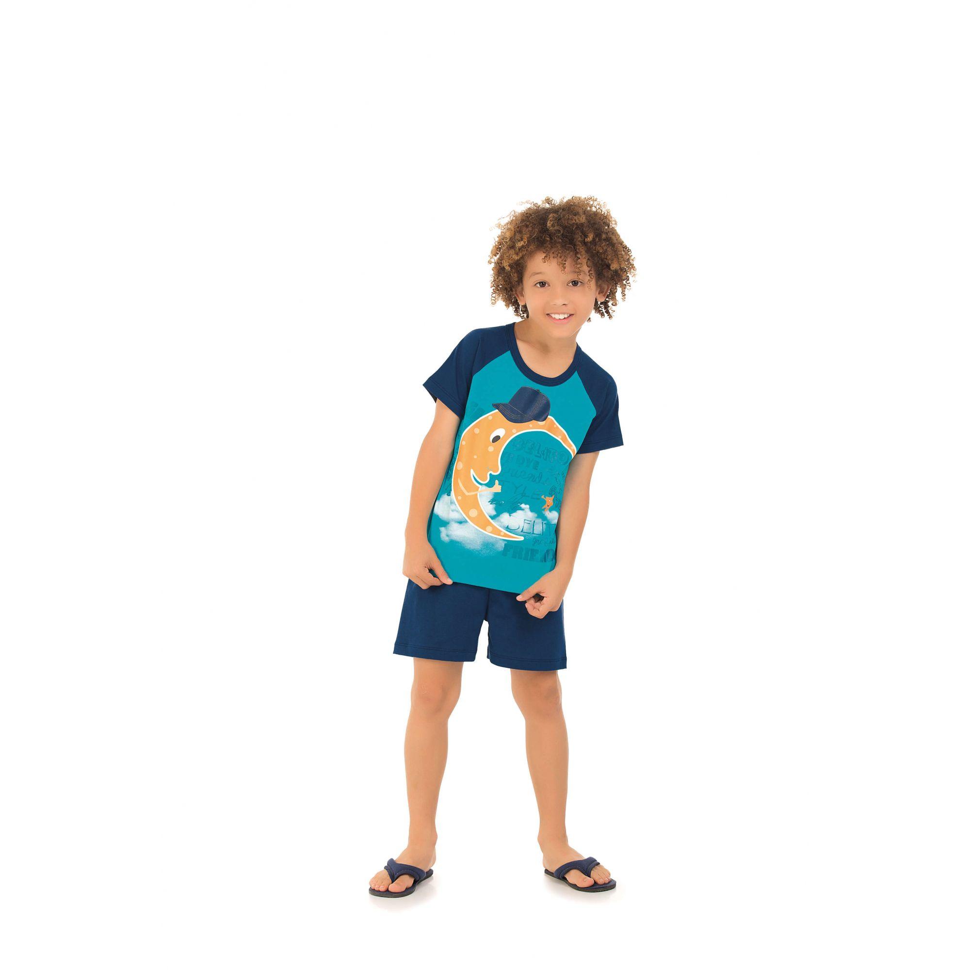 Pijama Infantil Curto Belito - Turquesa