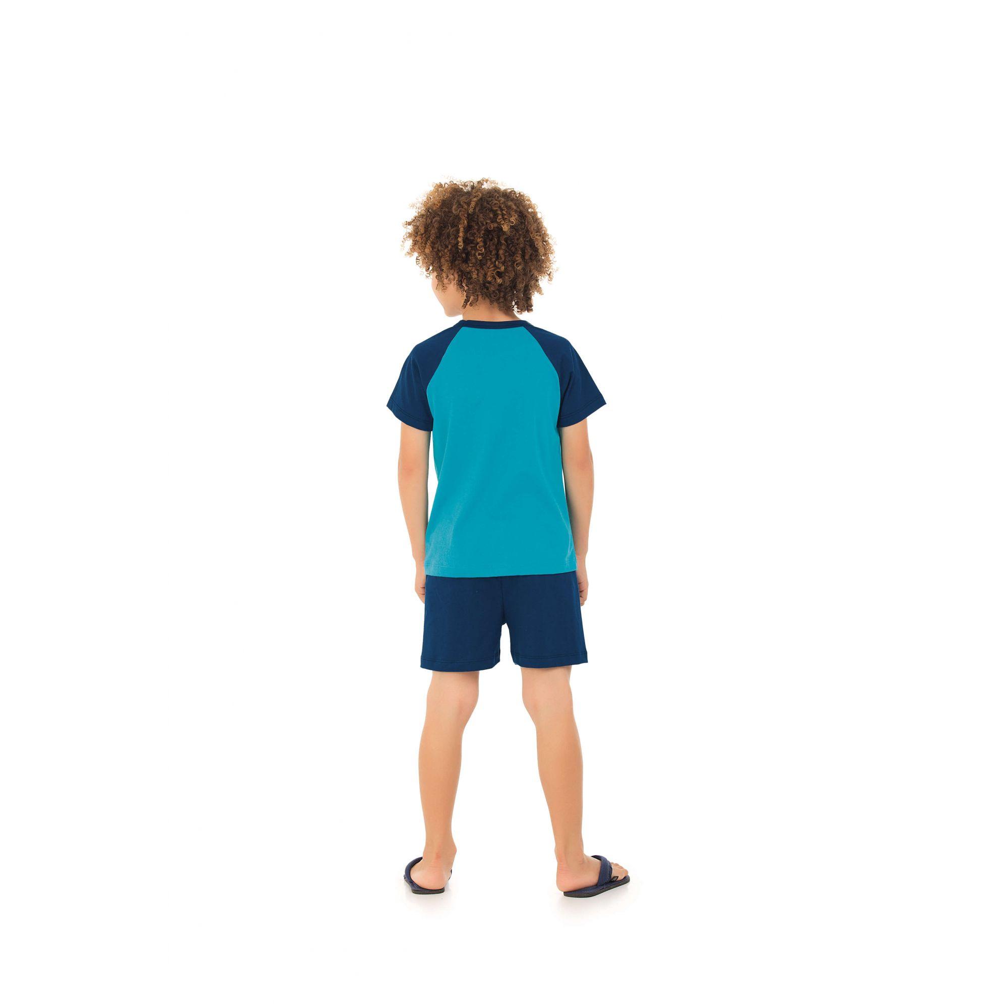 200/G - Pijama Infantil Curto Belito Turquesa