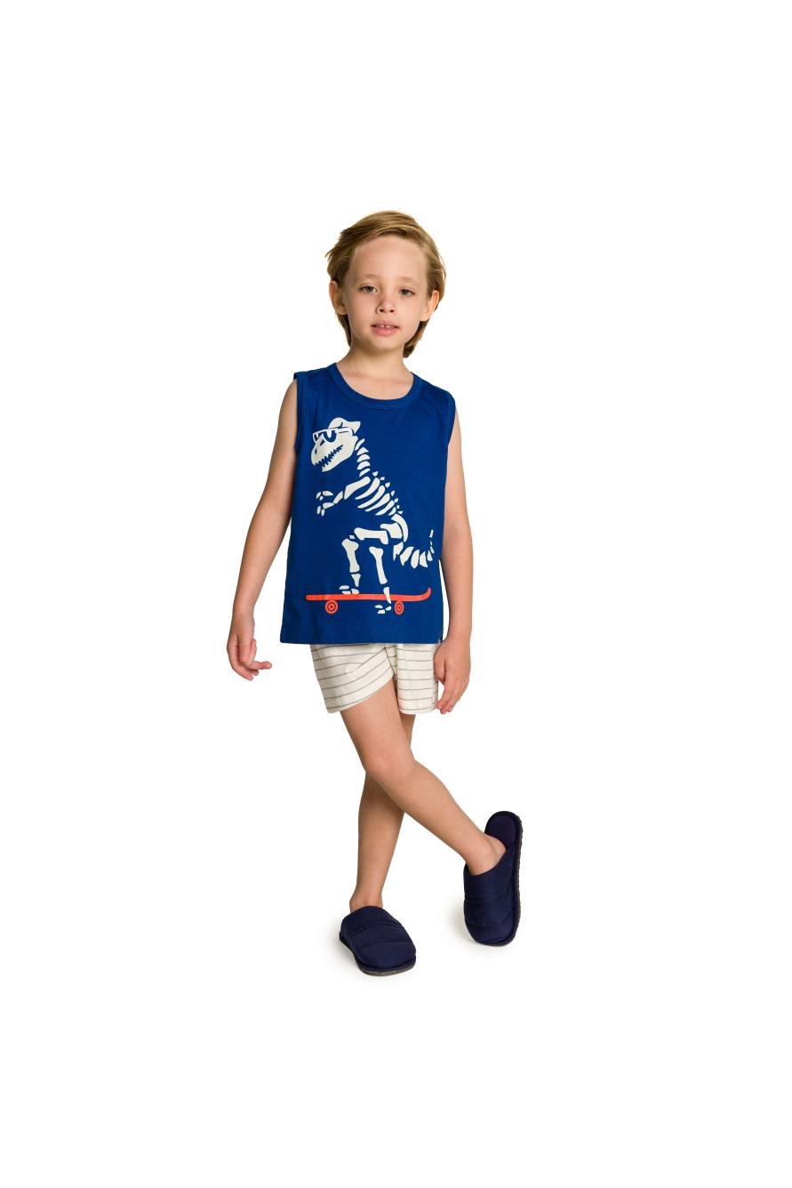 039/I - Pijama Infantil Dinossauro Skatista com Óculos - Brilha no Escuro