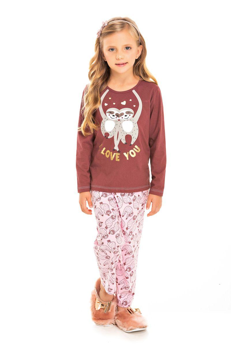 Pijama Infantil Feminino Bicho Preguiça