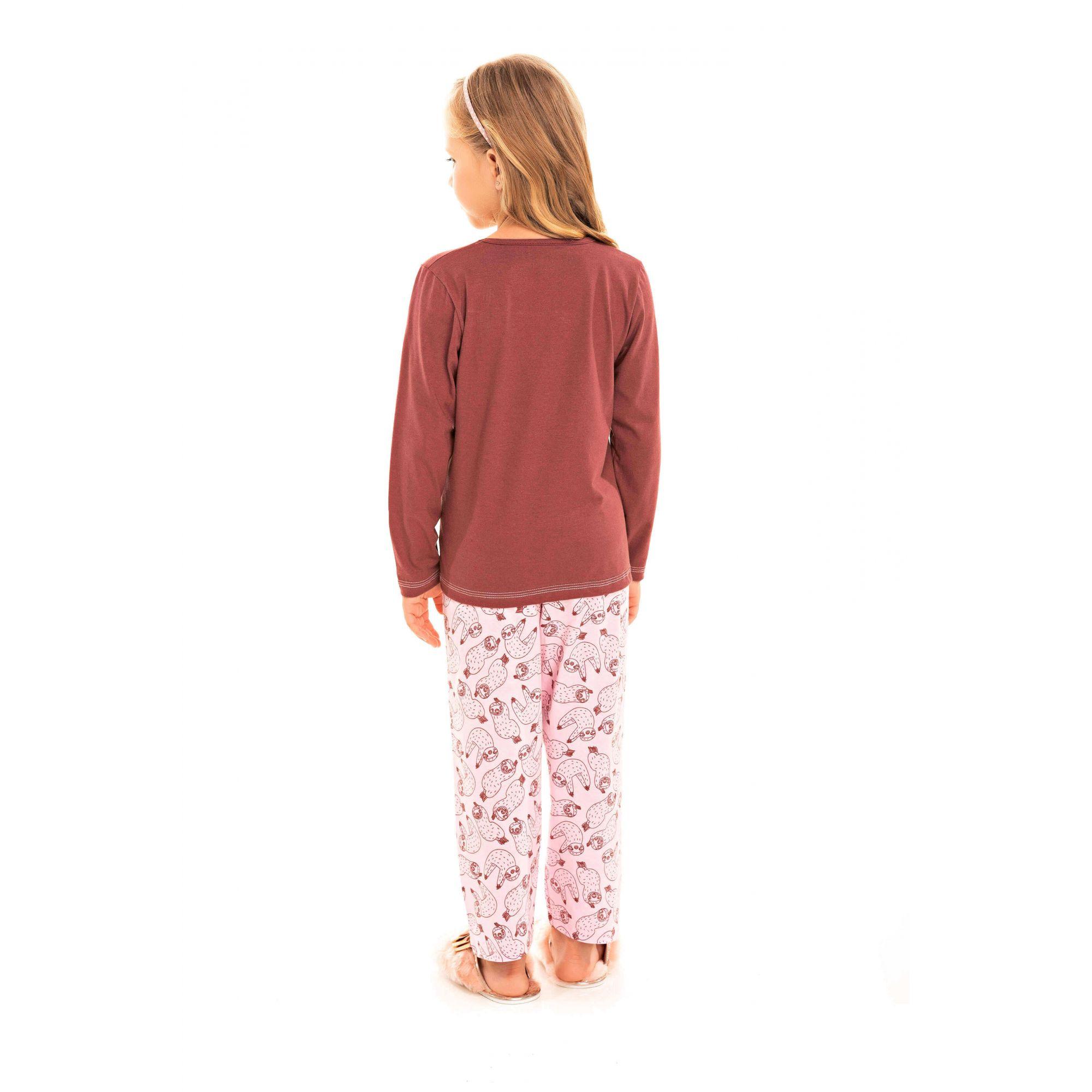 096/C - Pijama Infantil Feminino Bicho Preguiça