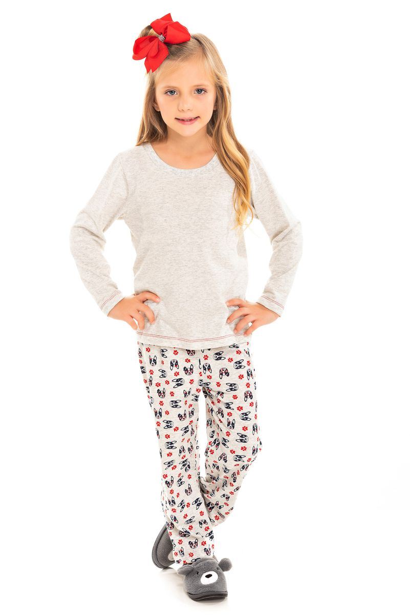 Pijama Infantil Feminino Bulldog