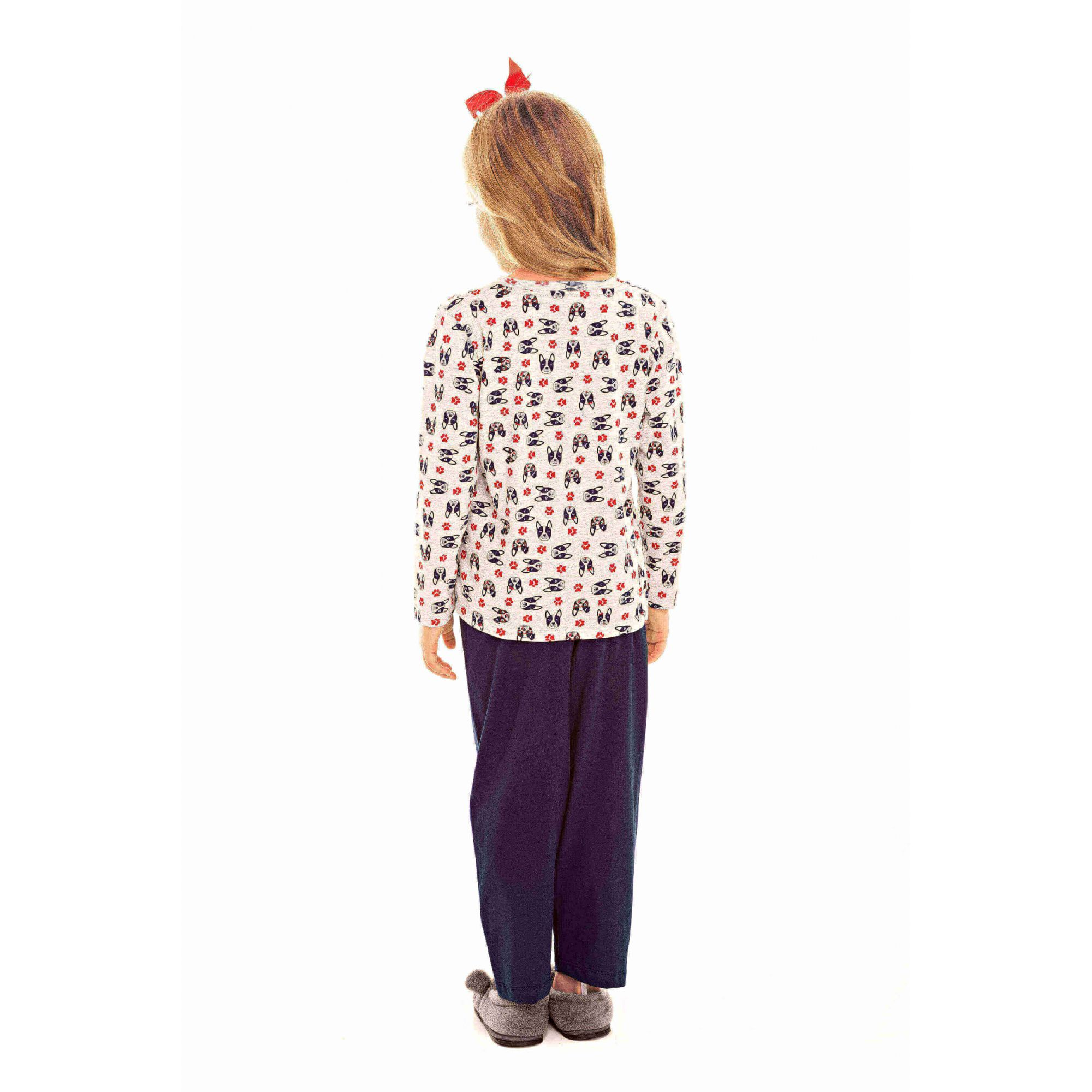 Pijama Infantil Feminino Bulldog Marinho