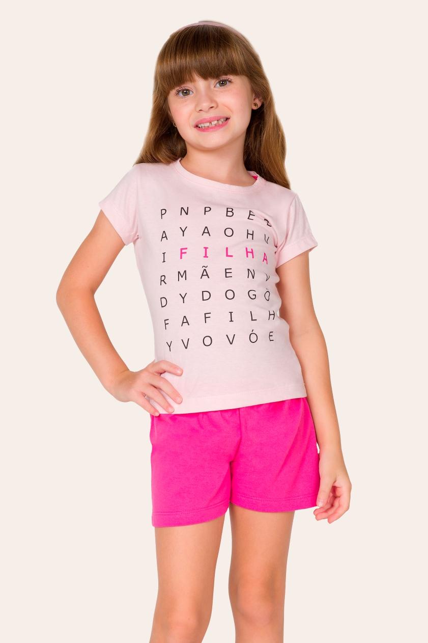 039/E - Pijama Infantil Feminino Caça-palavras - Filha