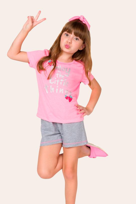 Pijama Infantil Feminino Enjoy Com Scrunchie