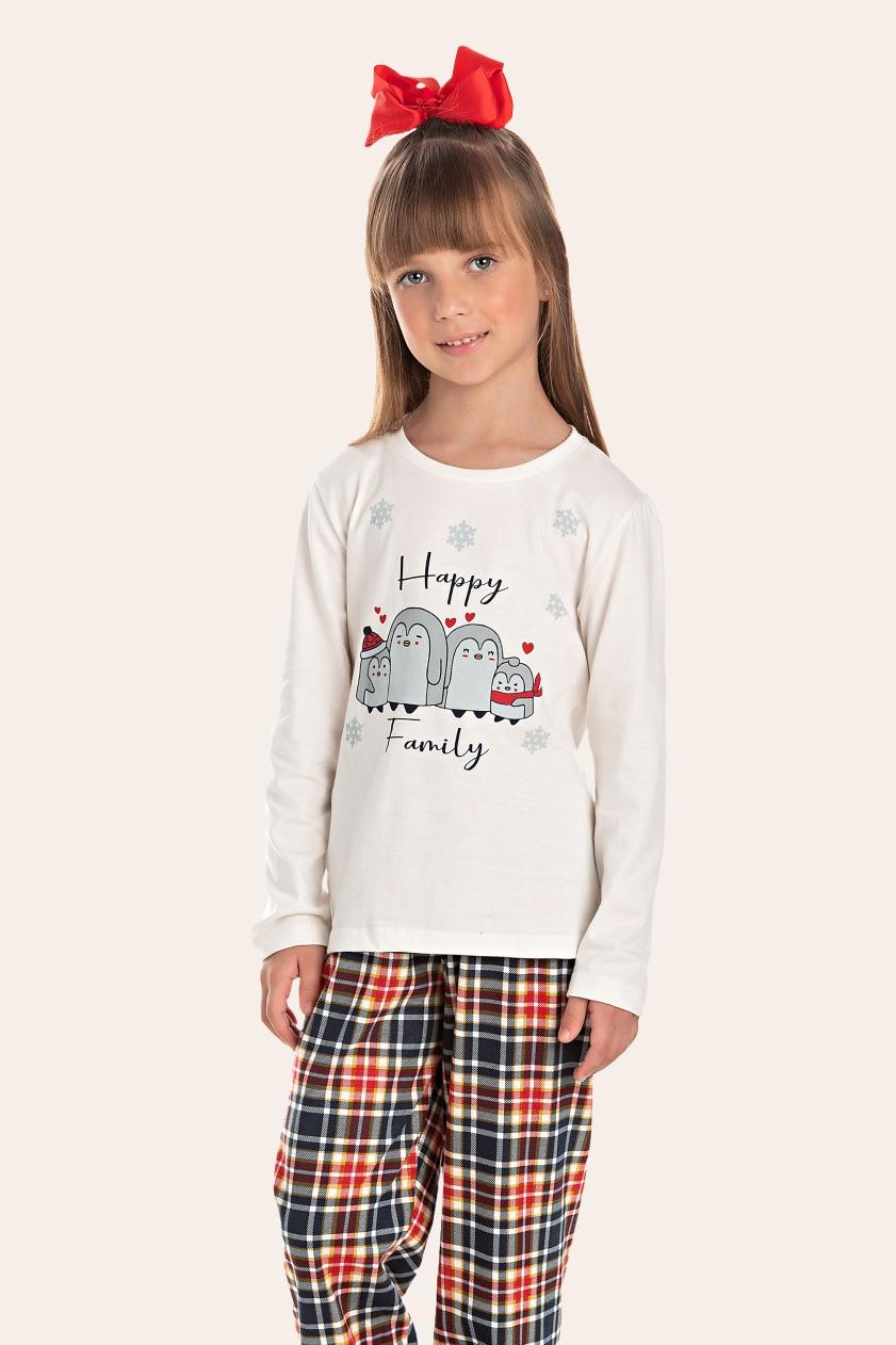 002/C - Pijama Infantil Feminino Happy Family