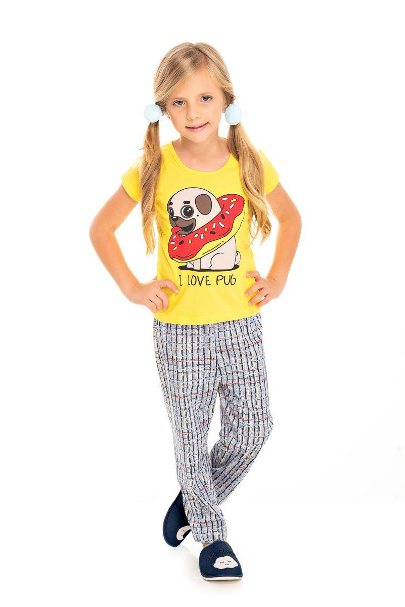 Pijama Infantil Feminino I Love Pug