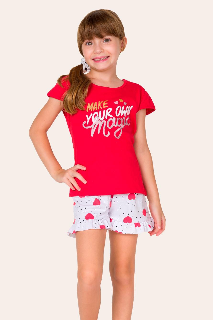 029/C - Pijama Curto Infantil Feminino Magic