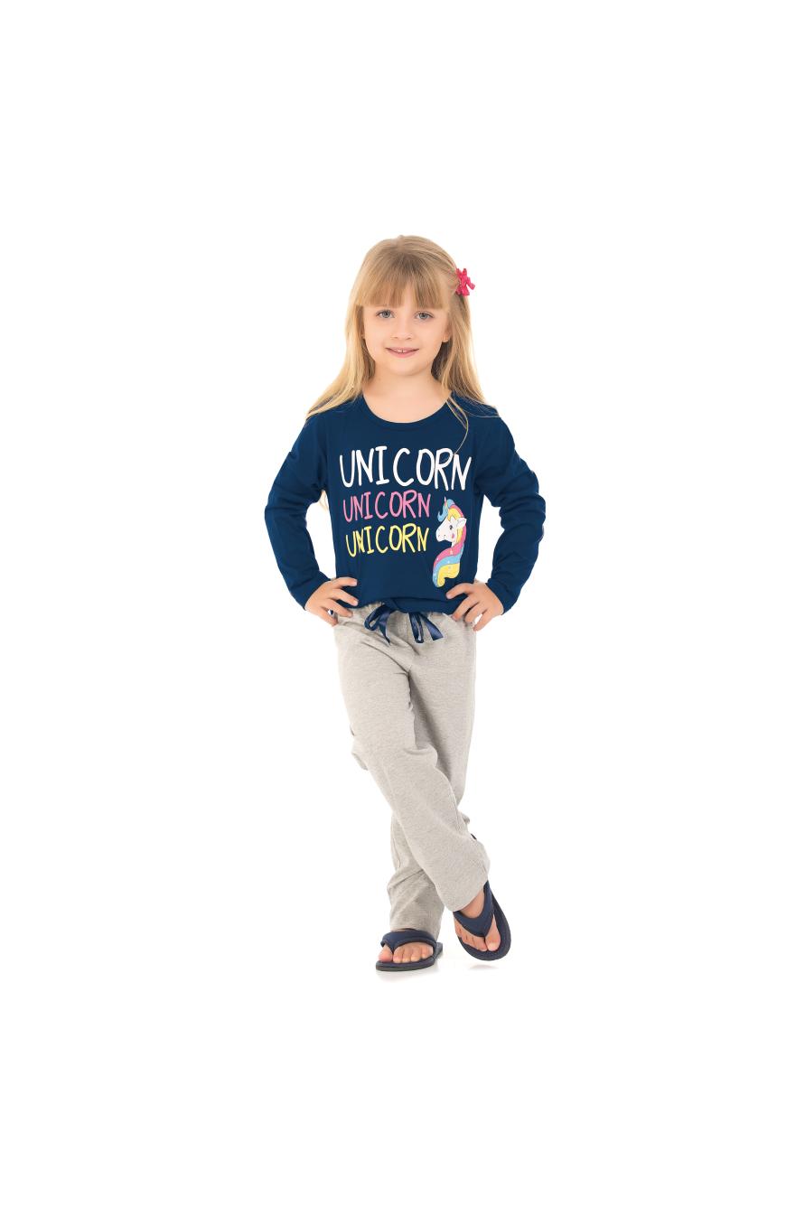 Pijama Infantil Feminino Marinho Unicórnio