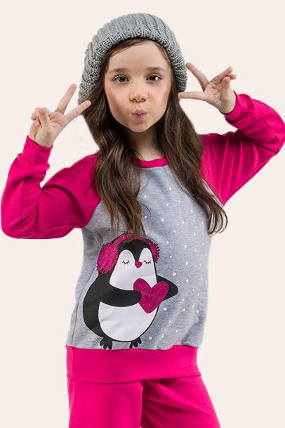 011/E - Pijama Infantil Feminino Moletom Pinguim