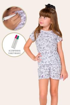 043/A - Pijama Infantil Feminino Princess - Para Colorir