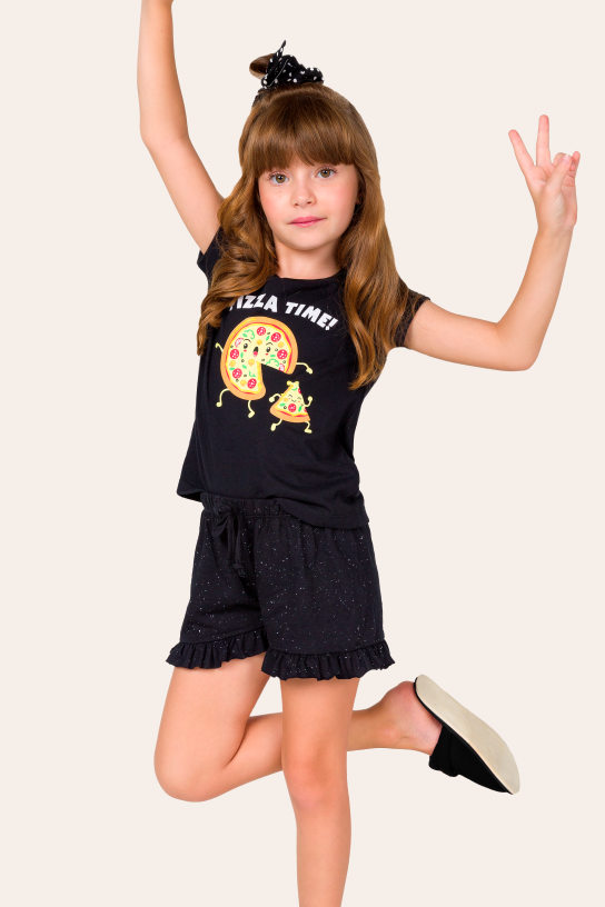Pijama Infantil Feminino Pizza Time - Família
